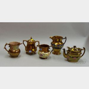 Five Copper Lustre Serving Items