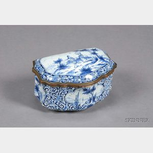 Dutch Delft Blue Decorated Box and Cover