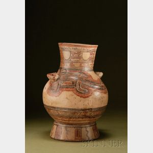 Pre-Columbian Polychrome Pottery Urn