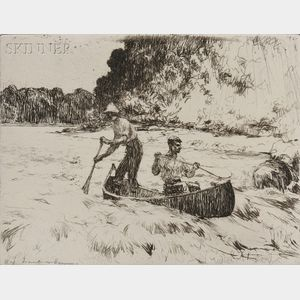 Frank Weston Benson (American, 1862-1951)      Running the Rapids