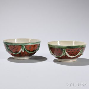 Two Mocha-decorated Creamware Bowls