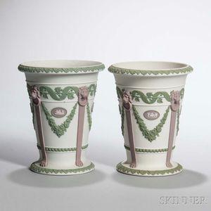 Pair of Wedgwood Tricolor Jasper Vases