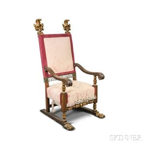 Continental Carved and Gilt Oak Upholstered Throne Chair
