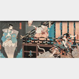 Utagawa Kunisada (Toyokuni III, 1786-1865), Triptych Woodblock Print