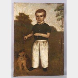 American School, 19th Century  Portrait of a Boy with His Dog.