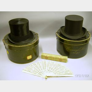 Two Boxed Black Silk Top Hats and a J.E. Caldwell Philadelphia Boxed Bone and Lace Ladys Hand Fan.