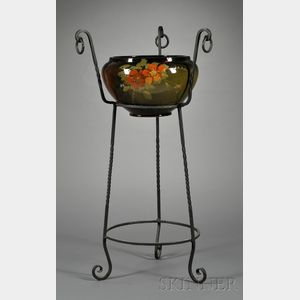 Arts & Crafts Pottery Jardiniere and Floor Stand