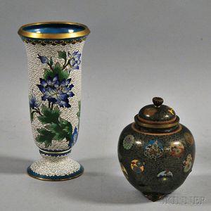 Cloisonne Covered Jar and Cloisonne Vase