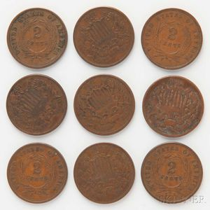Nine Two Cent Coins