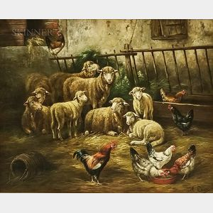 Attributed to August Laux (New York/Germany, 1853-1921)    Barnyard Scene with Chickens and Sheep