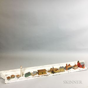 Fourteen Carved Toy Buildings and Locomotives and a White-painted Pine Hanging Wall Shelf.