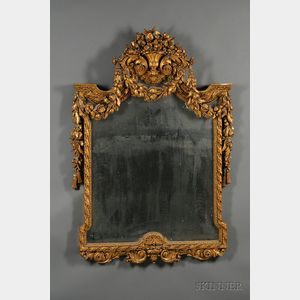 French Baroque-style Giltwood and Composition Mirror