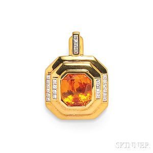 18kt Gold, Orange Sapphire, and Diamond Pendant