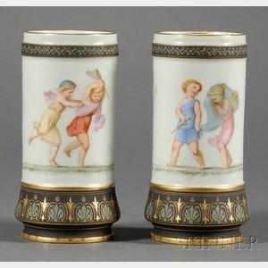 Pair of Paris Porcelain Spill Vases