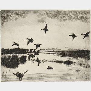 Frank Weston Benson (American, 1862-1951)      Evening Flight