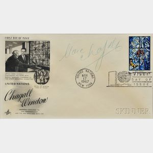 Chagall, Marc (1887-1985) Signed Post Card, First Day Cover, 17 November 1967.