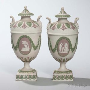 Pair of Wedgwood Tricolor Jasper Vases and Covers