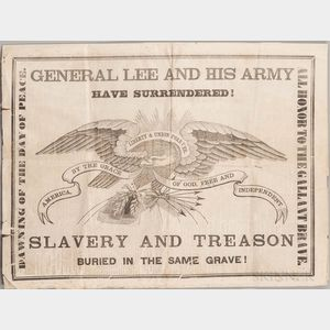Civil War, Lees Surrender, Albany Evening Journal Newspaper and Broadside, 10 April 1865, General Lee and his Army have Surrendered! S