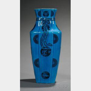 "Minton Persian Blue Glazed ""Tied Purse"" Vase"