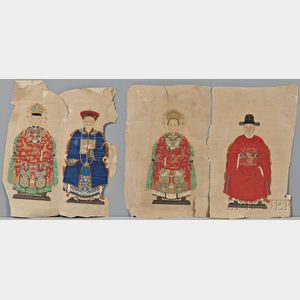 Loose Painting Fragments Depicting Portraits of Eight Nobles