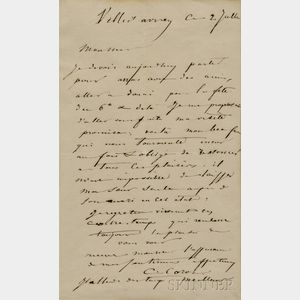Corot, Jean Baptiste Camille (1796-1875) Autograph Letter Signed, Ville-d'Avray, 2 July [1861].
