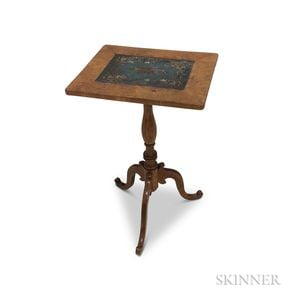 Country Fruitwood Candlestand with Inset Beadwork Panel
