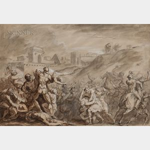 French or Italian School, 17th/18th Century      The Rape of the Sabine Women