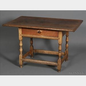 William and Mary Pine and Maple Tavern Table with Drawer