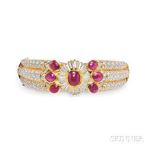 18kt Gold, Ruby, and Diamond Bracelet