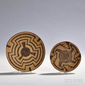 Two Pima Miniature Coiled Basketry Trays