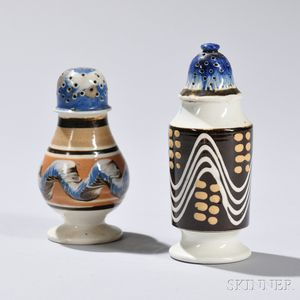 Two Mocha-decorated Pearlware Pepper Pots