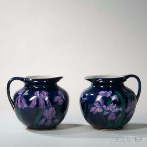 Pair of George Jones Imperial Amethyst Design Earthenware Pitchers