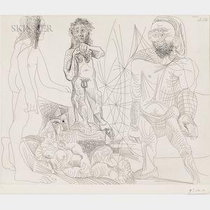 Pablo Picasso (Spanish, 1881-1973)      Vieux modèle-jeune odalisque, femme androgyne, berger arcadien et pêcheur à la Boina pendante
