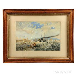 Framed British Watercolor Port Scene