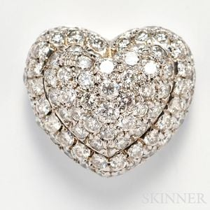 18kt White Gold and Diamond Heart Pendant