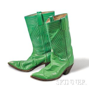Nudie Cohn     Green Leather Cowboy Boots
