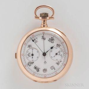 18kt Gold Swiss Chronograph Open-face Watch