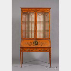 Edwardian Painted Satinwood Bureau/Bookcase