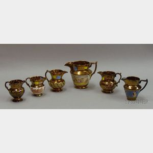 Six Copper Lustre Items
