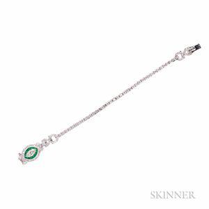 Sophia D. Platinum, Emerald, and Diamond Bracelet