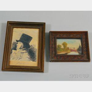Two Framed European Works:,  After Francisco de Goya (Spanish, 1746-1828), After the Self Portrait Etching, Plate 1 of Los Caprichos, u