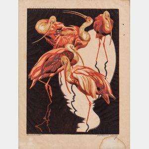 Norbertine Bresslern-Roth (Austrian, 1891-1978)      Ibisse   (Scarlet Ibis)