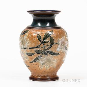 Doulton Lambeth Floral Stoneware Vase