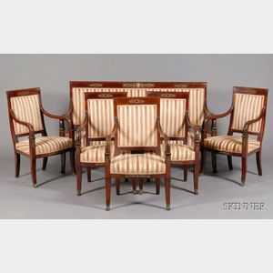 French Empire Revival Bronze-mounted Mahogany Six-Piece Seating Suite