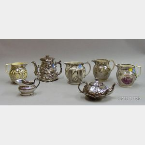 Seven Staffordshire Lustre Items