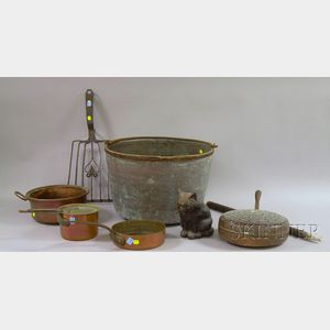 Seven Assorted Metal Hearth and Decorative Items