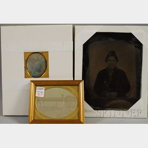 Two Daguerreotype Photographs and a Whole Plate Tintype Portrait Photograph of a   Native American Man