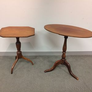 Two Country Mahogany Candlestands
