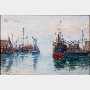 Raymond Woog (French, 1875-1949)      Harbor Scene, South of France