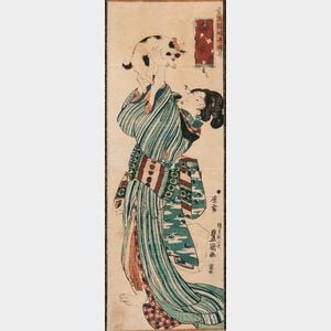 Utagawa Kunisada (Toyokuni III, 1786-1864), Vertical Diptych Woodblock